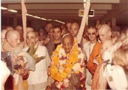 Prabhupada at Melbourne Airport Arrival 1975