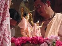 Bhanu Swami serving Gaura-Nitai