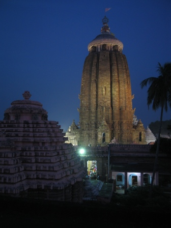 jagannath temple at dusk: