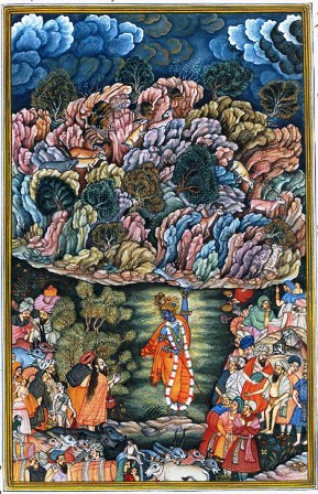 lord krishna lifting the mountain govardhana: