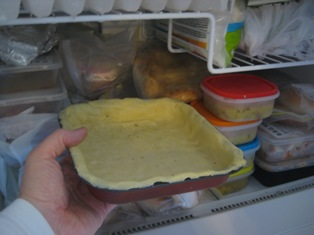 pie shell in fridge: